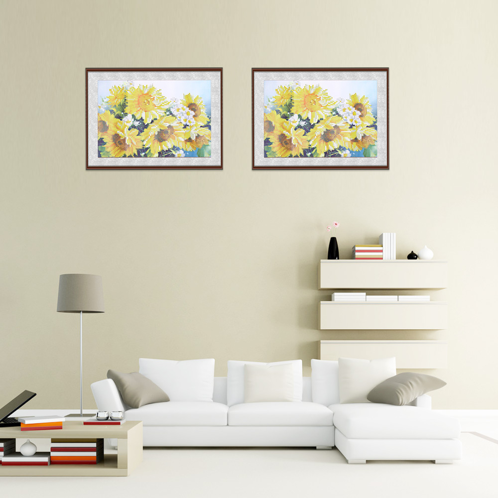 25 x 35cm 5D Sunflower Drilled Needlework DIY Diamond Painting Cross Stitch Wall Sticker