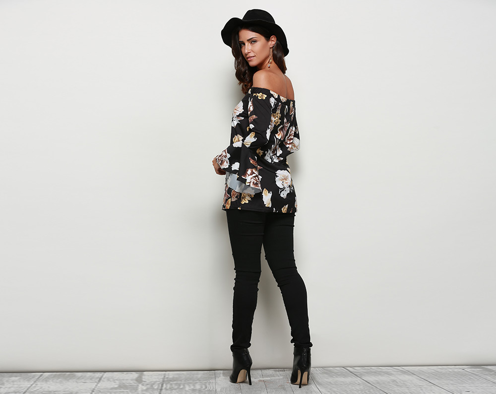 Stylish Off The Shoulder Flare Sleeve Allover Print Women Blouse