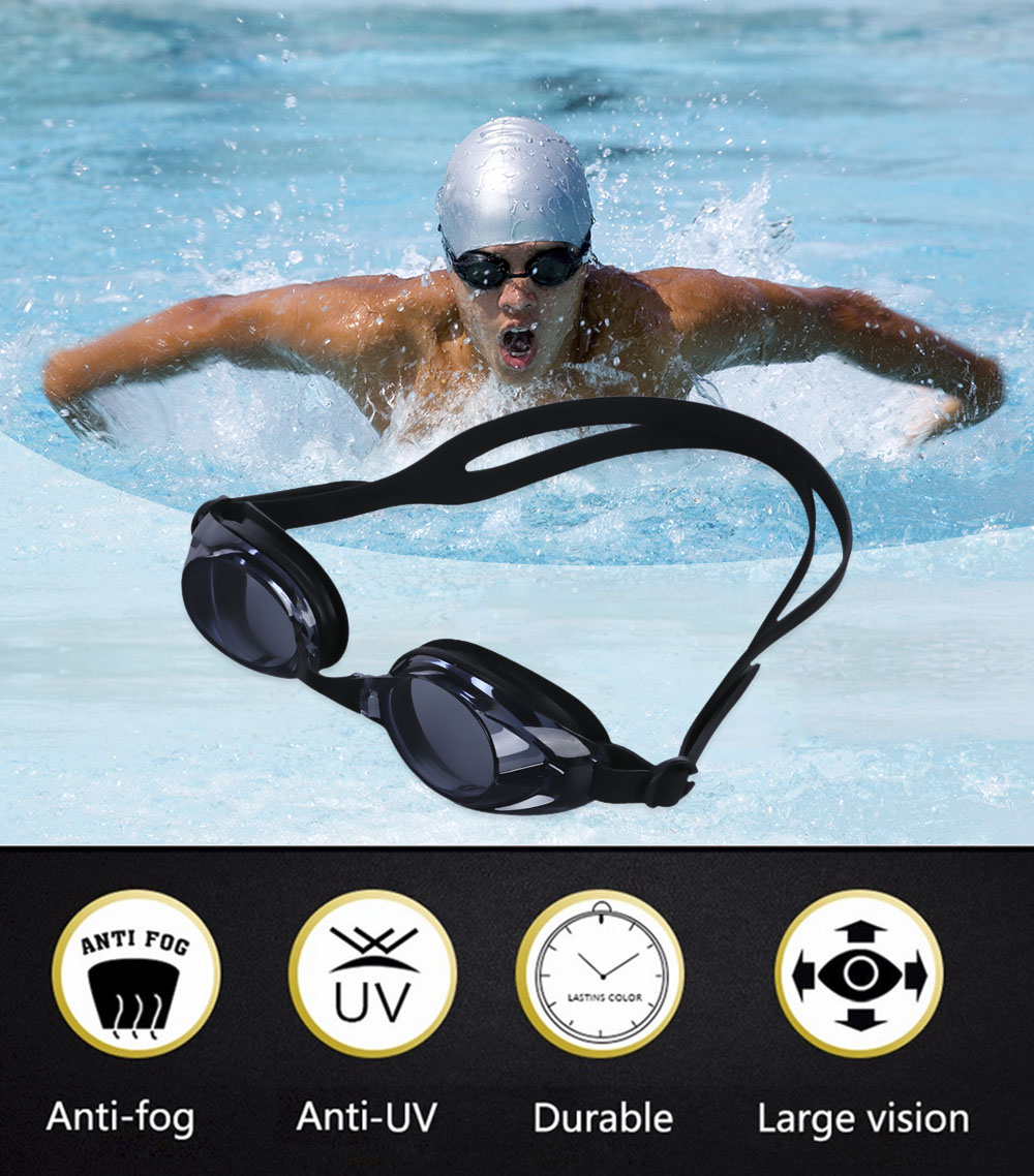 Adjustable Waterproof Anti-fog Silicone Swimming Glasses Goggles Eyewear with Case
