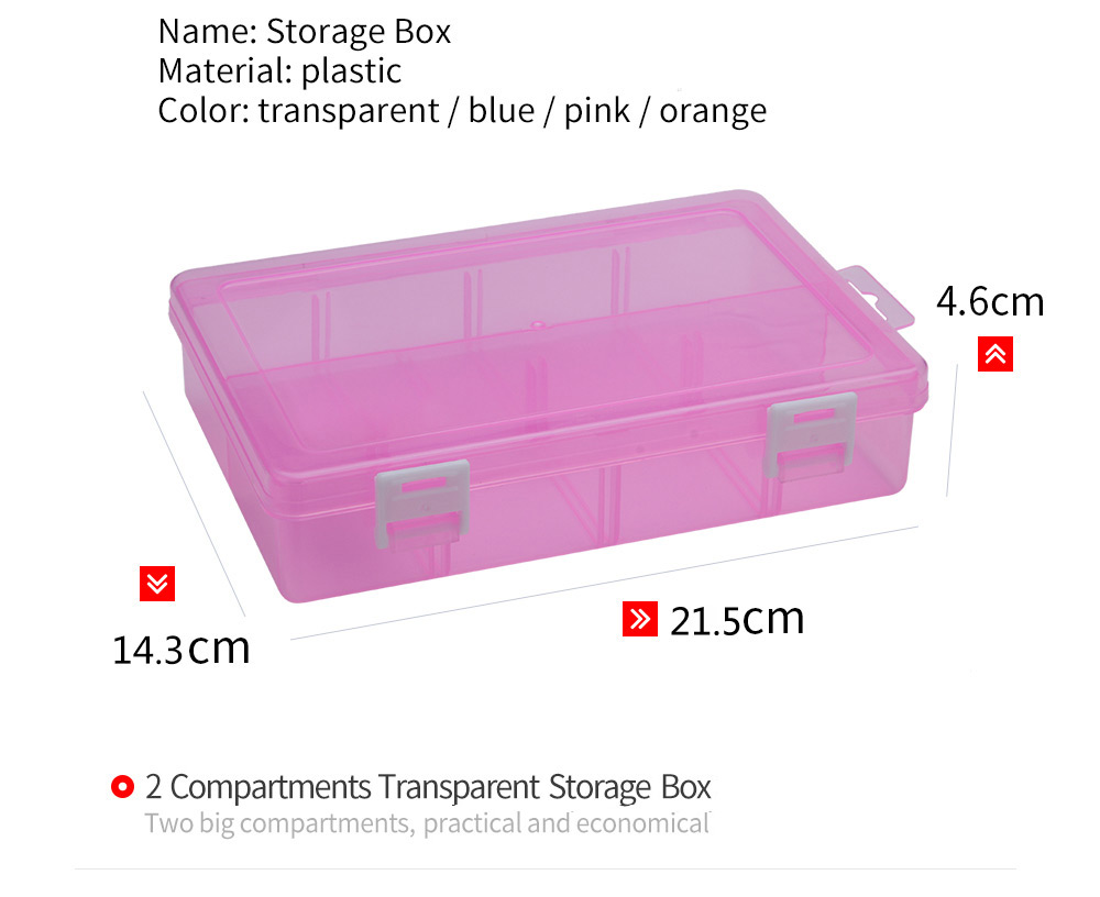 2 Compartments Plastic Jewelry Bead Hardware Tool Storage Box