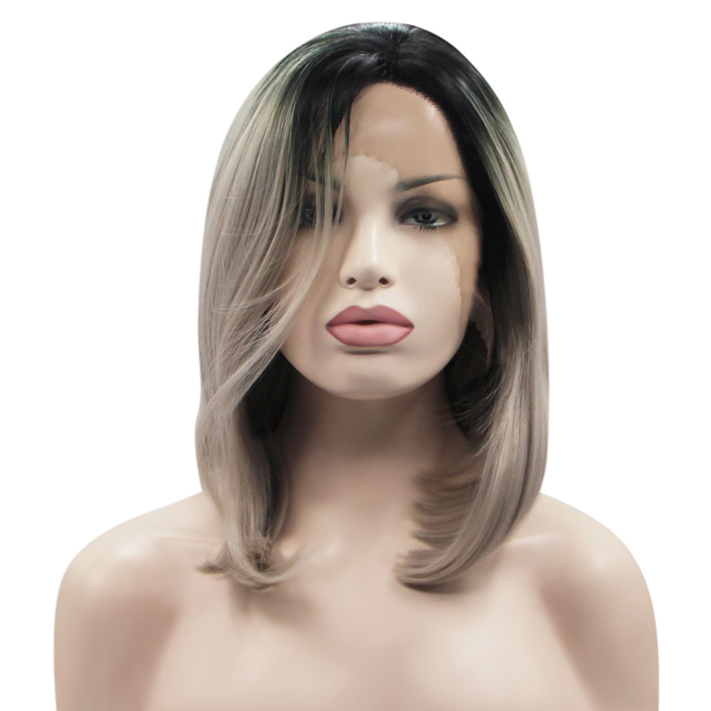 Gradient Grey Straight Synthetic Lace Front Wigs with Fashionable Hair for Women