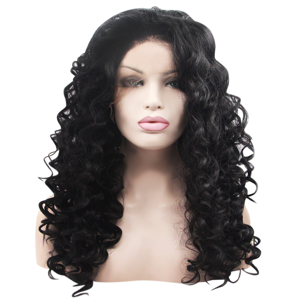 Fashionable Long Deep Curly Synthetic Lace Front Wigs for Women