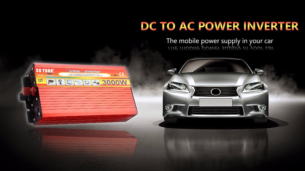 XUYUAN 3000W Solar Car Power Inverter DC 12V to AC 220V Modified Sine Wave Vehicle Mounted Transformer