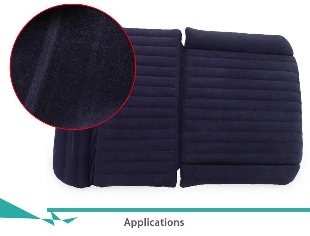 Drive Travel Inflatable Car Bed SUV Back Seat Cover Air Mattress Camping Companion Flocking Cloth