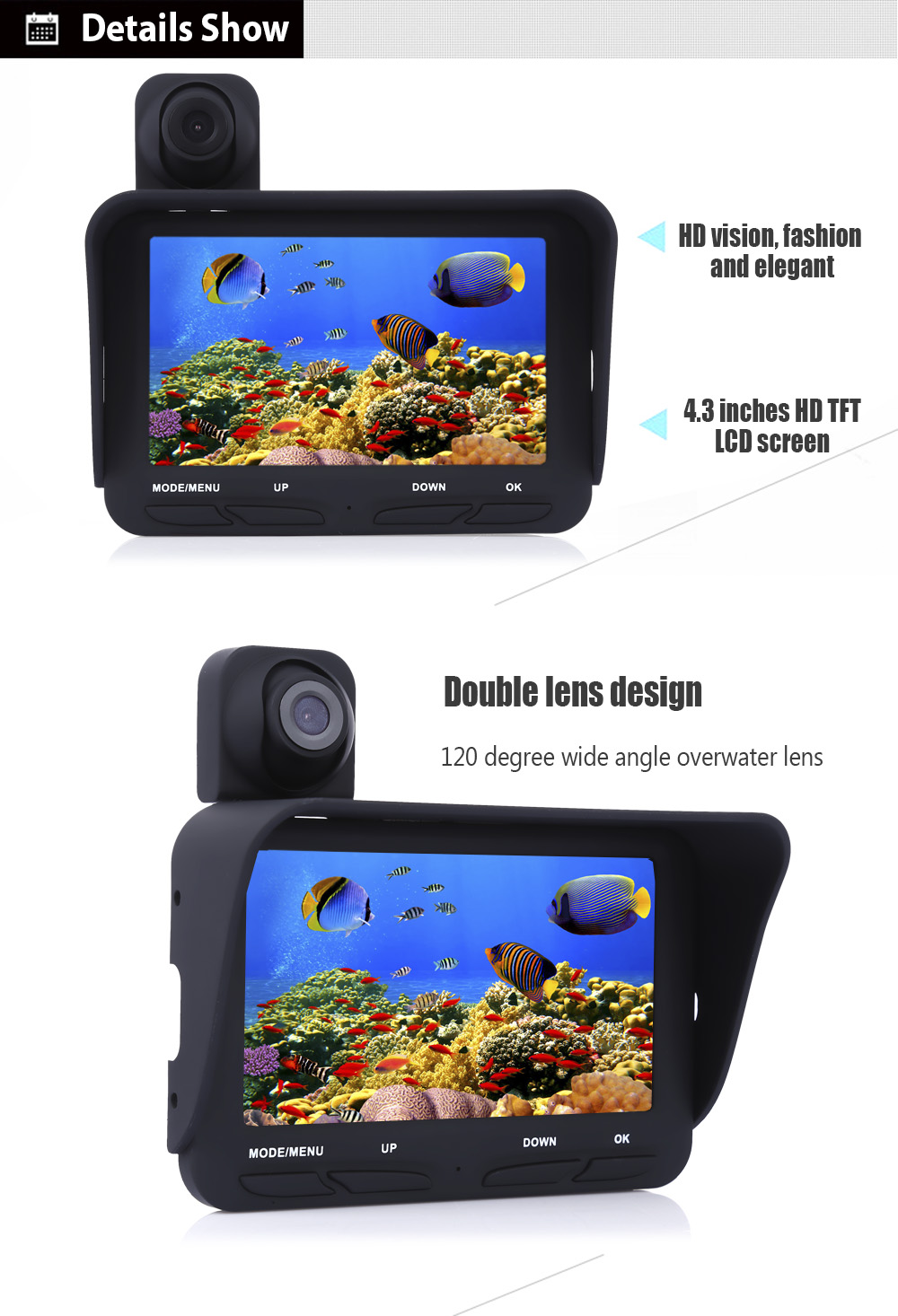Eyoyo 20M Underwater Fish Finder Fishing with Double Lenses Sun Visor