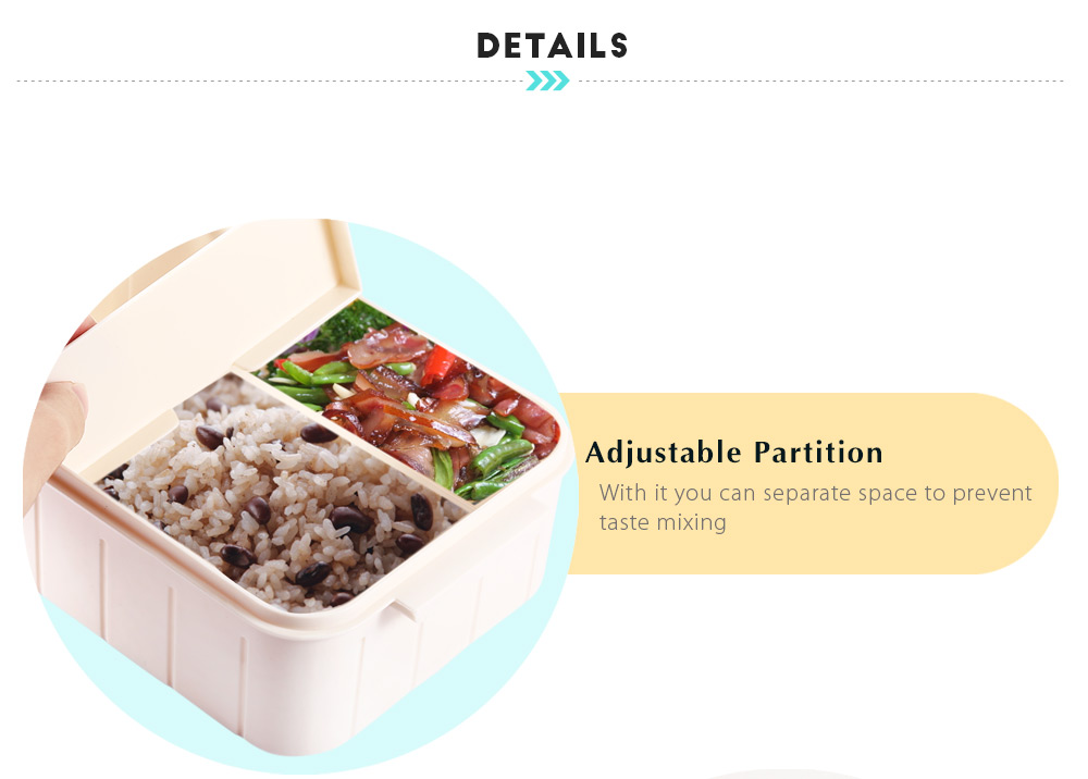 800ML Two Compartments Lunch Box Food Container with Spoon