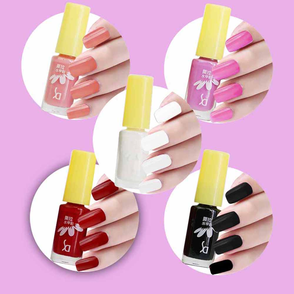 SD 5pcs / Set Peeled Friendly Water-based Nail Polish Kit Multi Colors Non-toxic Tearing Gel