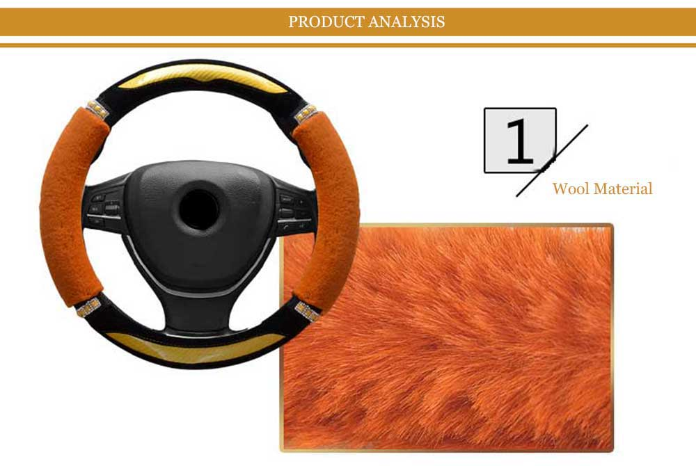 Fashionable Rhinestone-studded Candy Color Car Steering Wheel Cover for Women