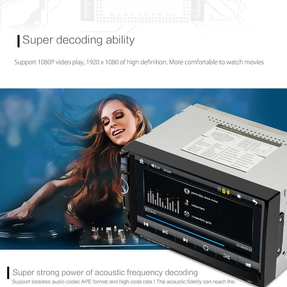 7002 7 inch 2-din 12V Car Multimedia MP5 Player with AM FM Bluetooth Function