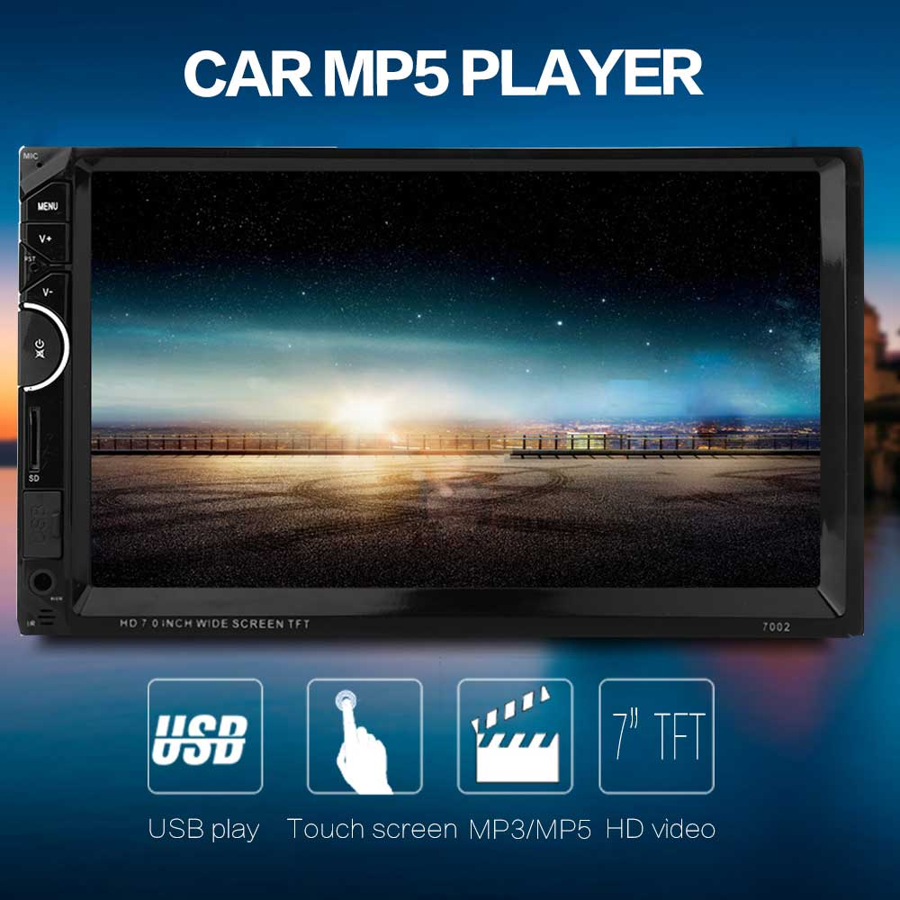 7002 7 inch Double Din 12V Car Multimedia MP5 Player with Camera AM FM Bluetooth Function