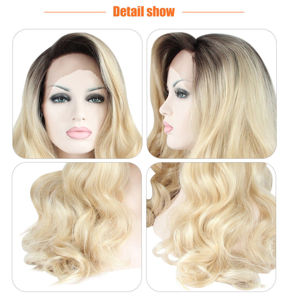 Natural Ombre Dark Root Loose Wave Synthetic Wig