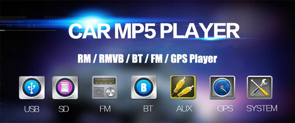 8001 7 inch 2-din 12V Car Multimedia MP5 Player with GPS AM FM Bluetooth Function