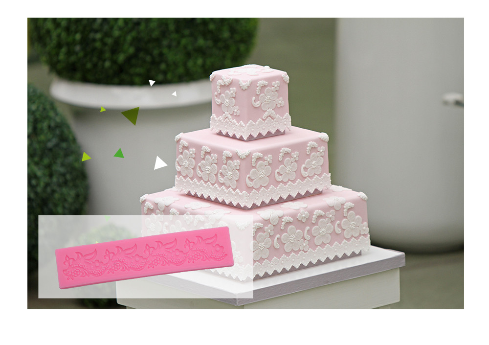 Creative Lace Flower Silicone Fondant Cake Rim Decoration Mold