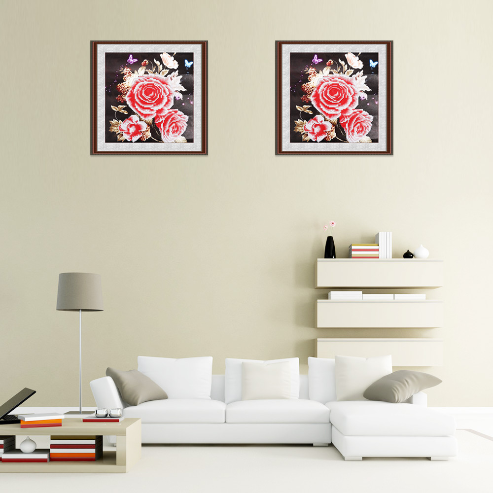 35 x 35cm Rose Flower Drilled Needlework DIY Diamond Painting Cross Stitch Home Decoration