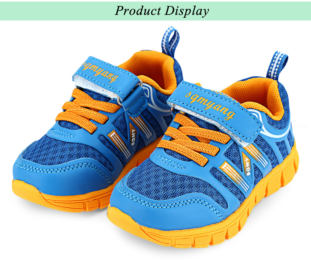 SQMY Casual Breathable Color Block Lace Up Strap Boys Sneaker