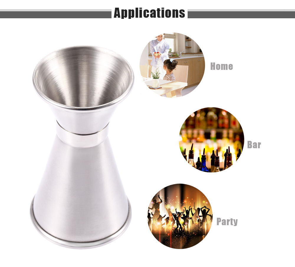 Stainless Steel Jiggle Single Double Shot Cocktail Wine Measure Cup Bar Tool