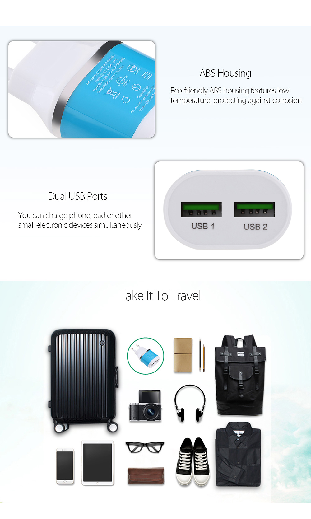 Dual USB Ports 5V 2.1A Universal Travel Charger Adapter