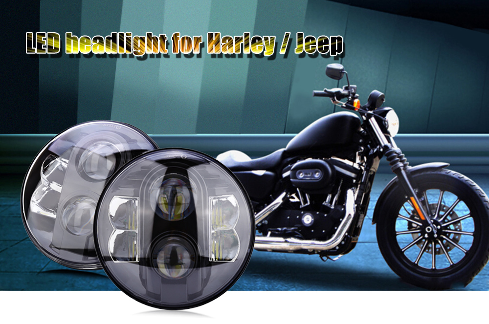 80W LED Head Light High Power Brightness Auto Motorcycle Headlamp for Harley / Jeep