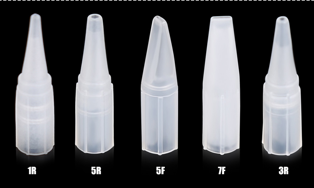 100pcs Multi-size Transparent Tattoo Pointed Mouth Needle Cap