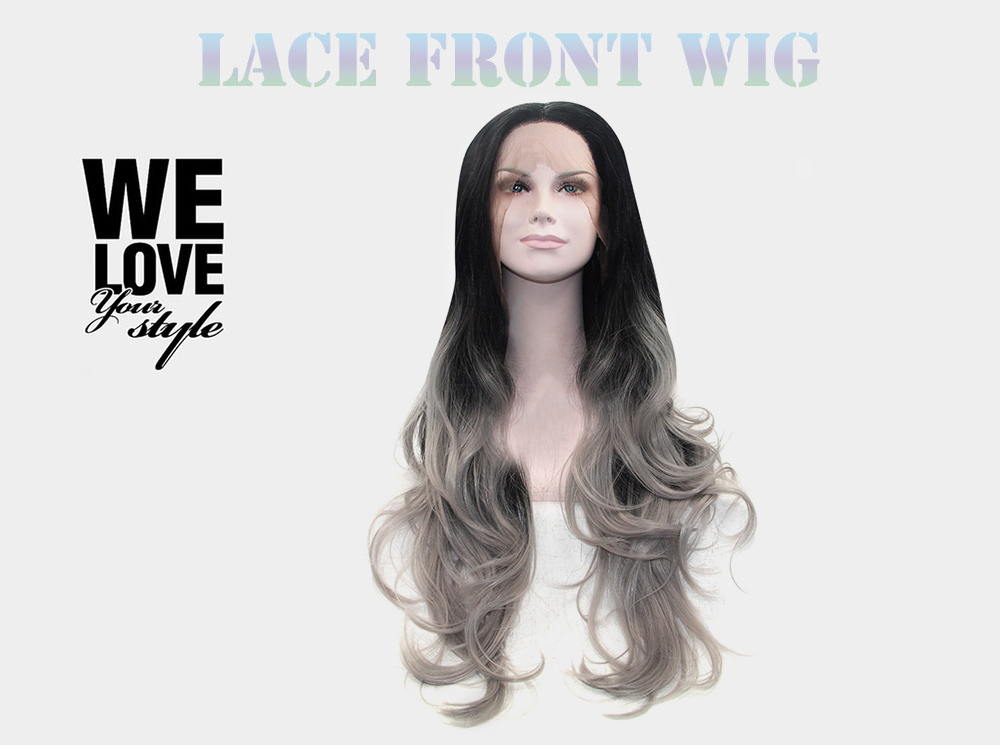 Ombre Long Grey Body Wave Synthetic Lace Front Wigs