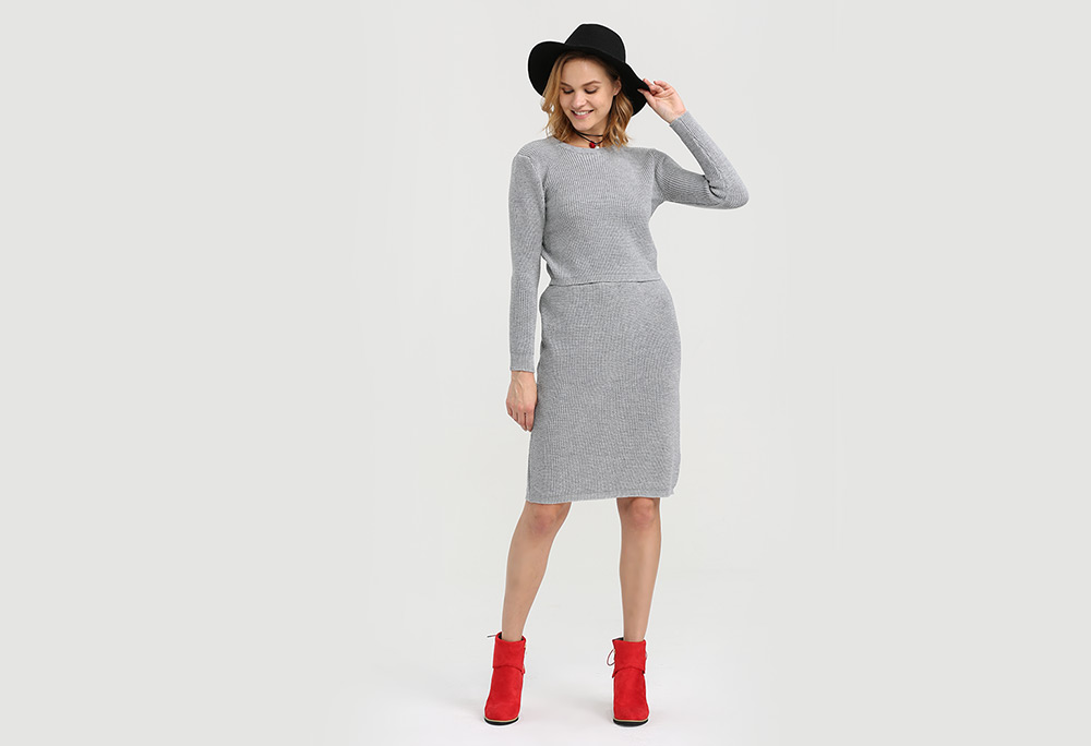 Stylish Round Collar Long Sleeve Pure Color Knitted Women Twinset
