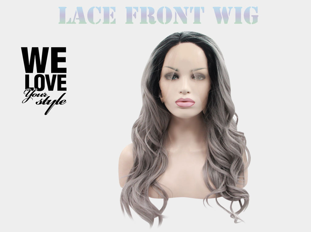 Ombre 2 Tones Dark Root T1B / Grey Loose Wave Synthetic Lace Front Wig
