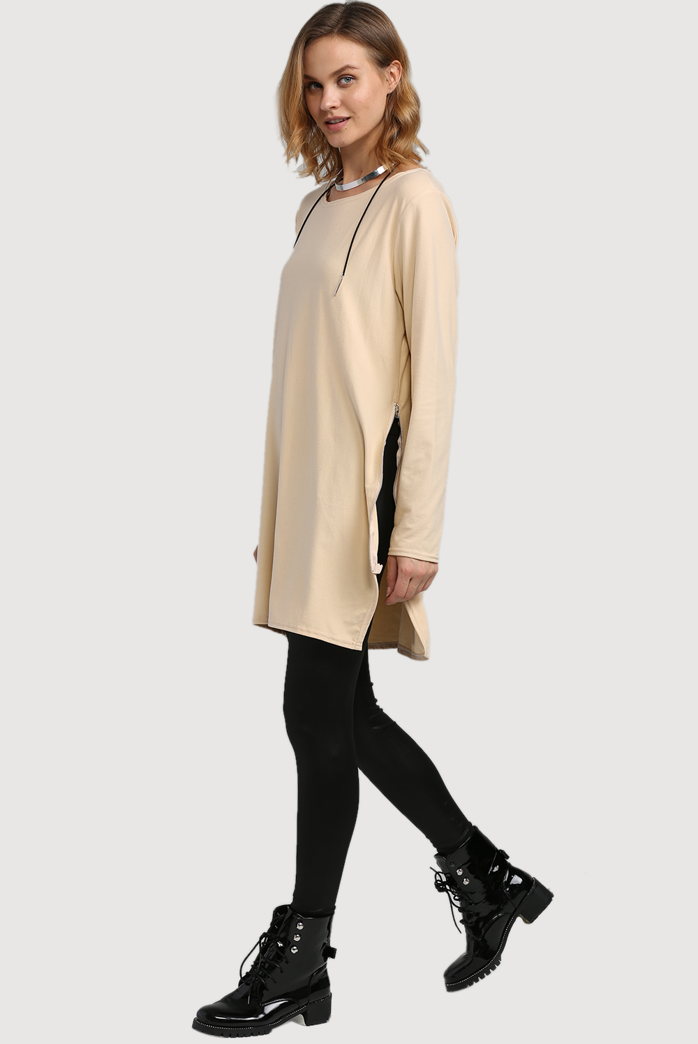 Fashion Round Collar Long Sleeve Pure Color Zipper Type Pollover Women Blouse