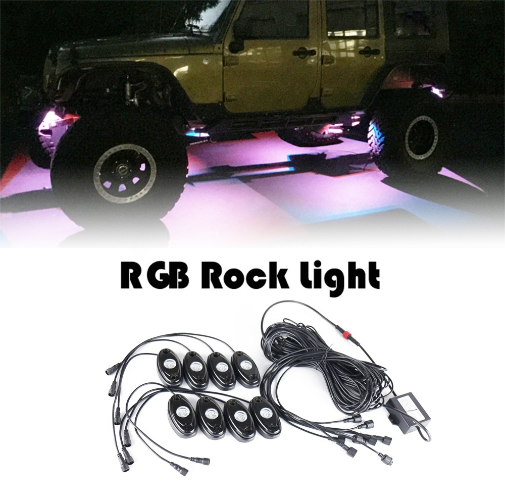 8pcs Universal RGB Rock Light Motorcycle Automobile Decorative Body Lighting Atmosphere Lamps