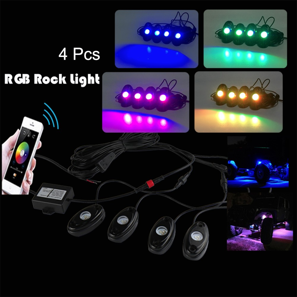 4pcs Universal RGB Rock Light Motorcycle Automobile Decorative Body Lighting Atmosphere Lamps
