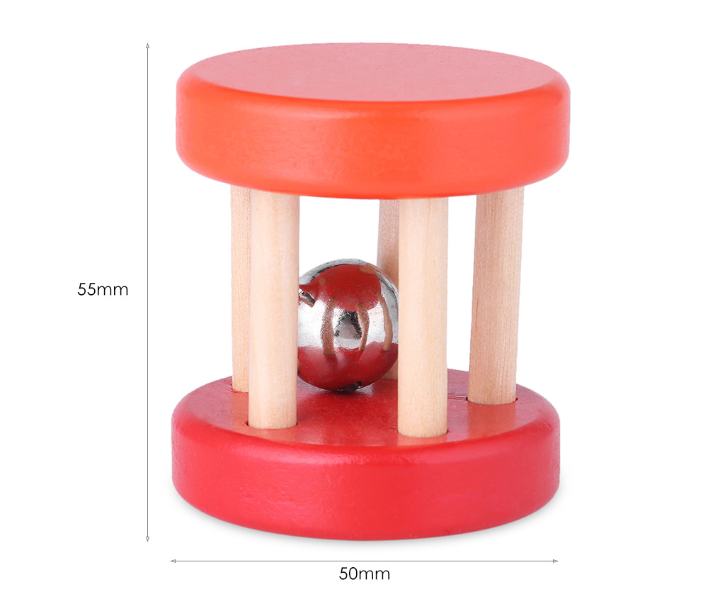 Wooden Rattle Sounds Handle Bell Shaker Child Educational Christmas Toy