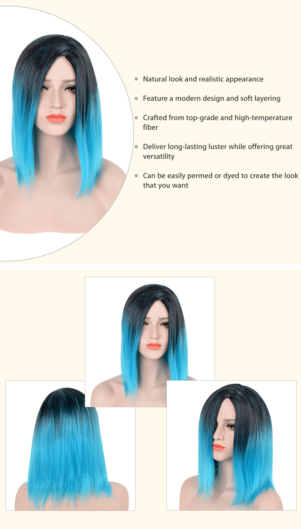 Medium Mixed Colors Gradient Blue Black Straight Synthetic Wigs for Women
