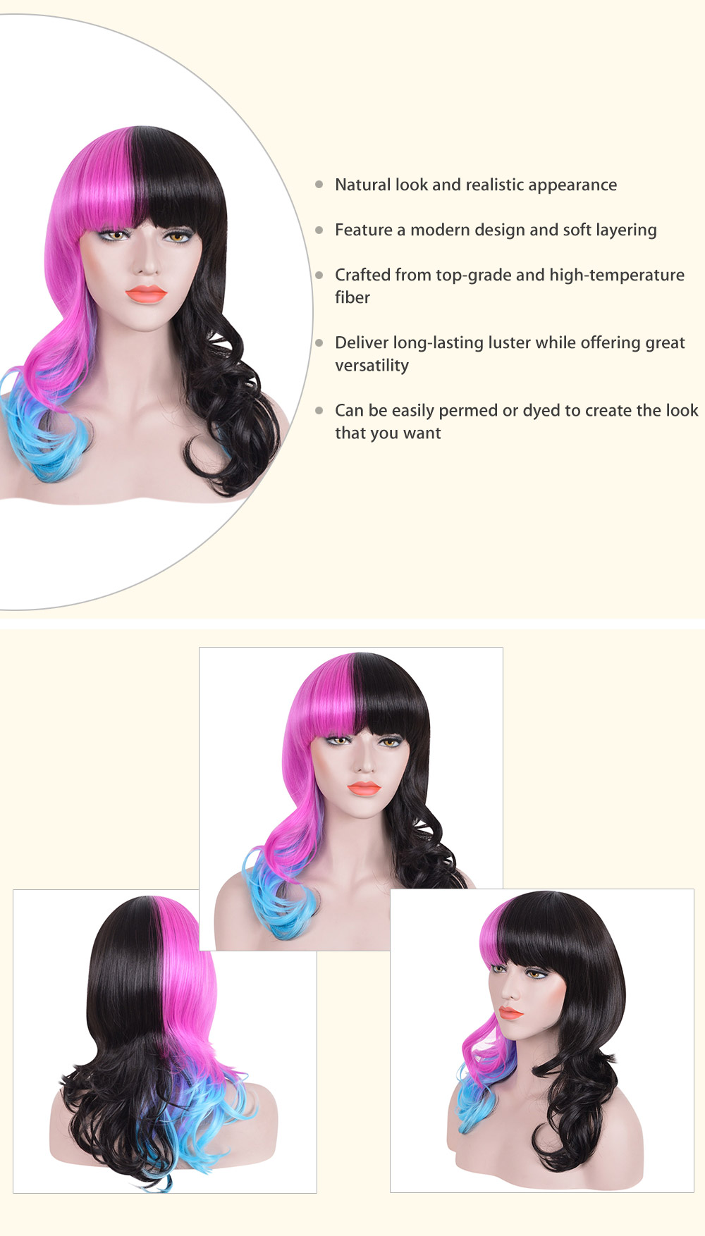 Classic Black Blue Pink Gradient Hair Long Curly Wavy Synthetic Cosplay Wigs for Women