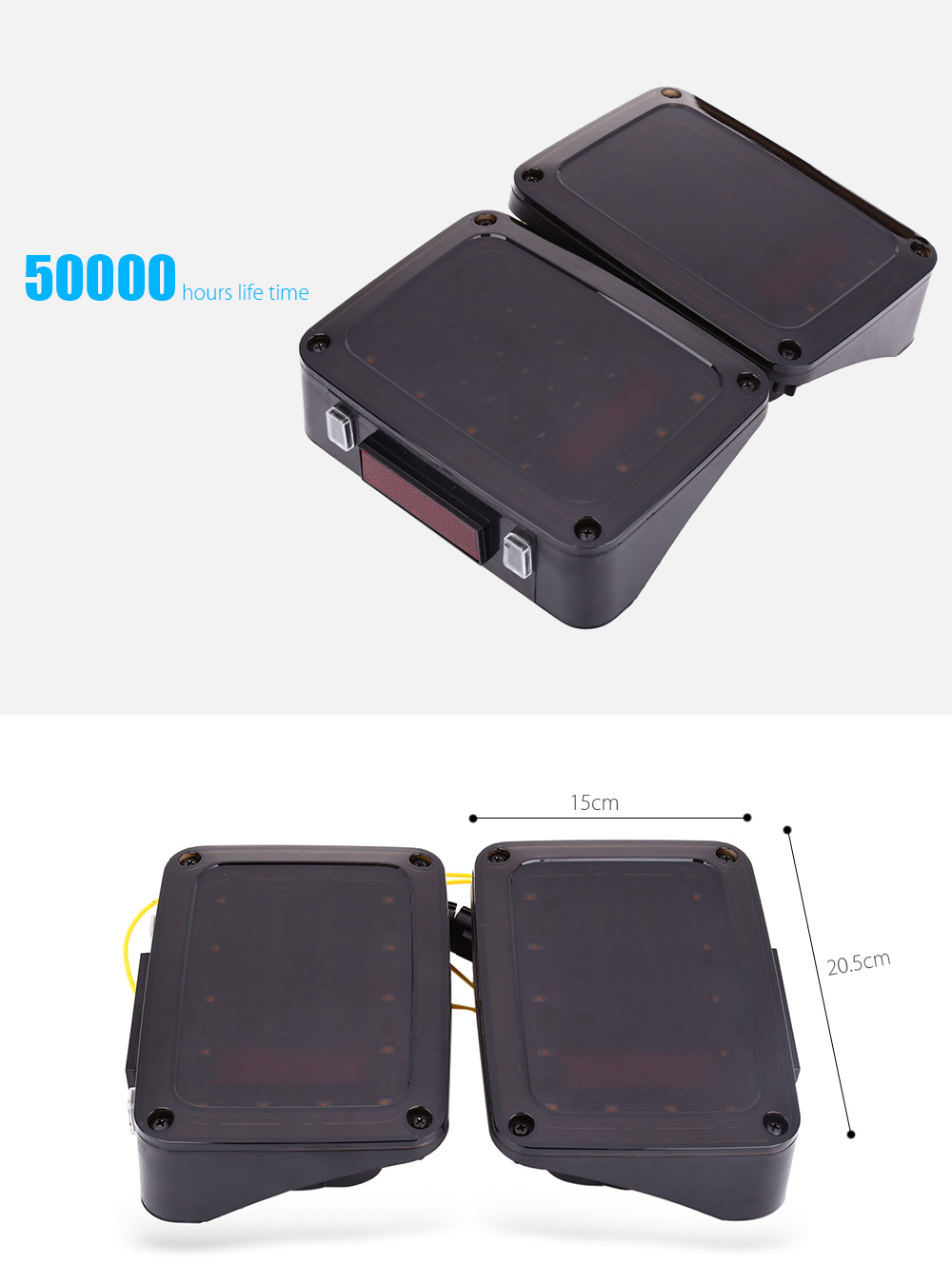 Pair of LED Tail Light DC 12V Waterproof Vehicle Mounted Warning Lamp Decoder for Jeep