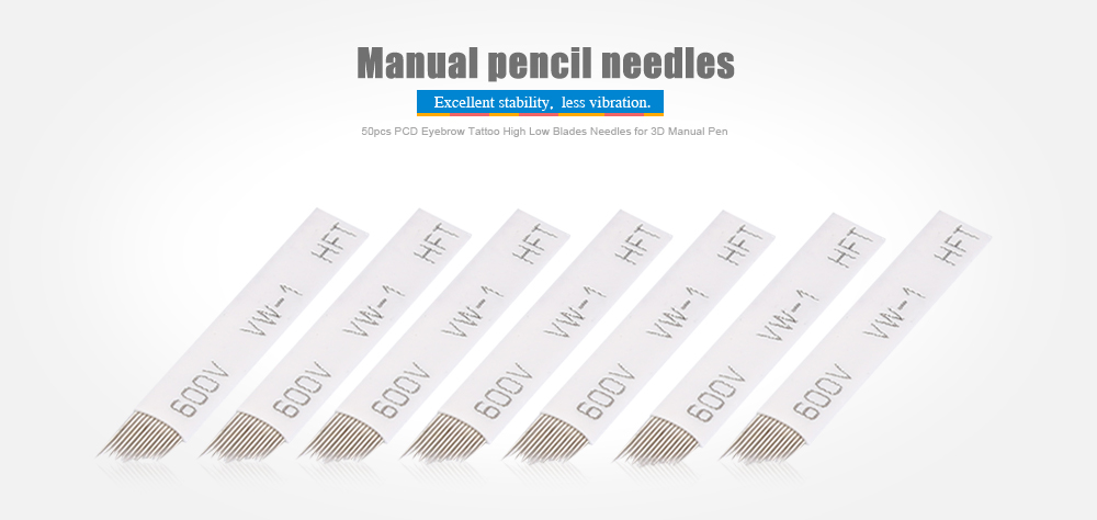 50pcs Tattoo High Low Needles Blades Permanent Makeup Eyebrow for Embroidery Manual Pen