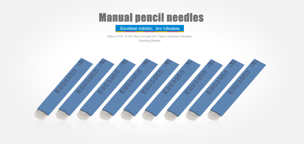 50pcs PCD 18 Pin Blue Circular Arc Tattoo Shading Eyebrow Blades Needles for 3D Embroidery Manual Pen