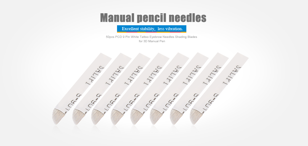 50pcs PCD 9 Pin Permanent Makeup Eyebrow White Tattoo Shading Blade Needles for 3D Manual Pen