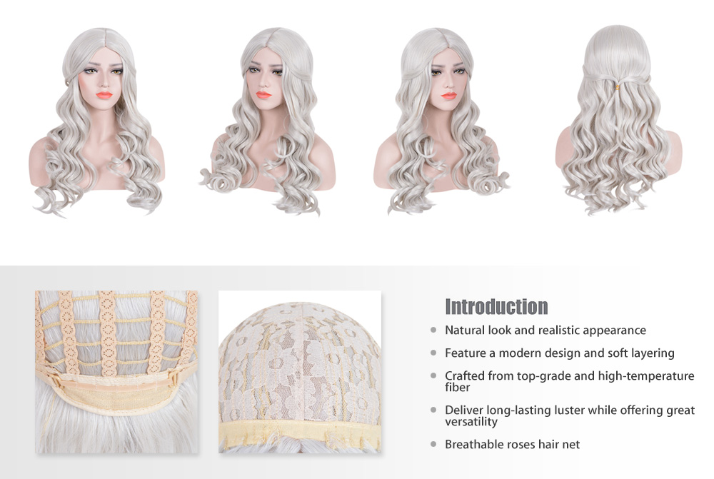 Classic Long Big Wavy White Wigs Central Parting Hairstyle for Cosplay Party