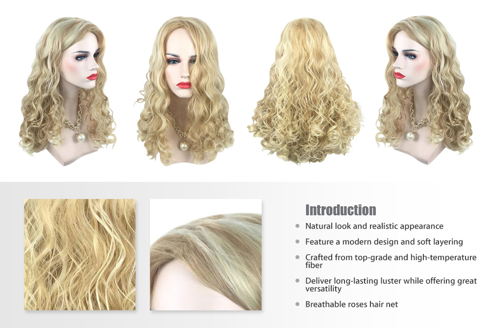 Women Texture Long Highlights Mixed Colors Blonde Curly Wigs Heat-resistant Synthetic