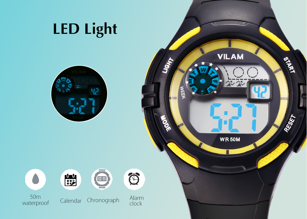 VILAM 0493 Digital Sports Watch Alarm Calendar Chronograph Display 50m Water Resistance Wristwatch