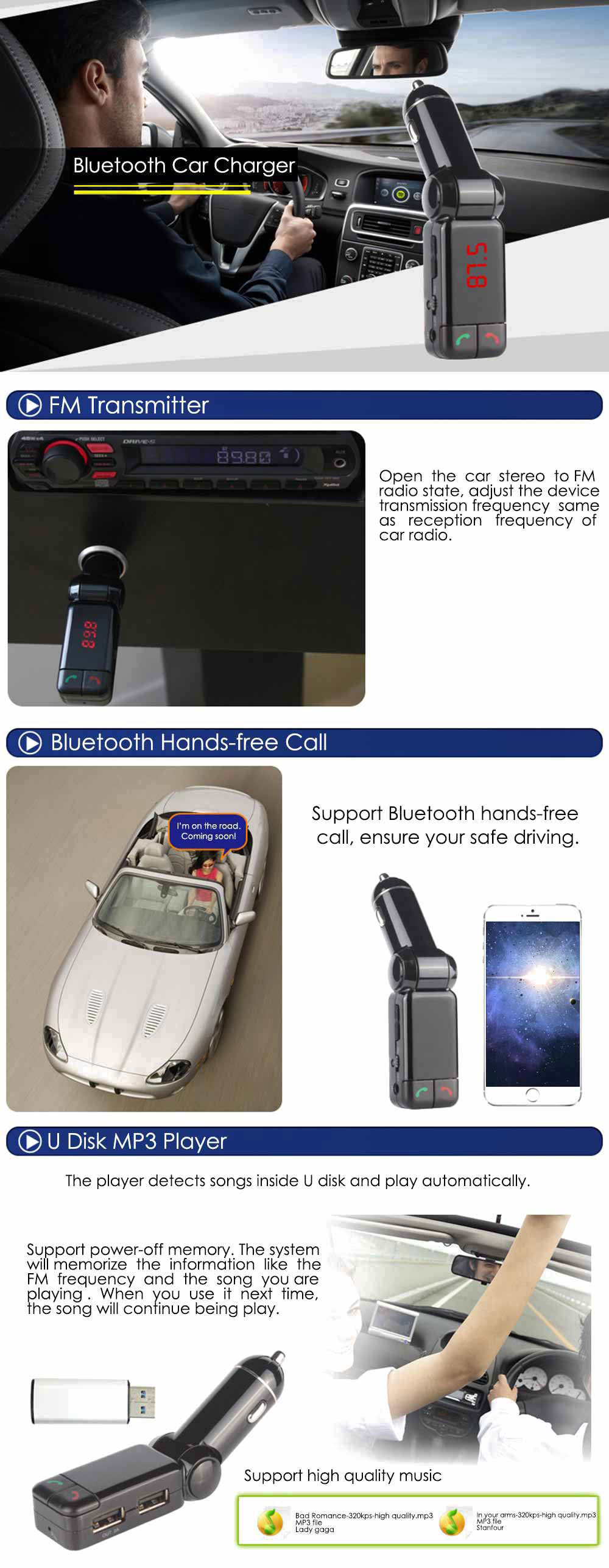BC06S Wireless Bluetooth Car Charger Dual USB FM Transmitter Current Voltage Display