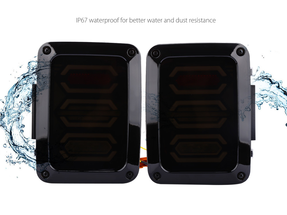Pair of LED Tail Light Waterproof Taillights Reverse Running Brake Turn Signal Lamp for Jeep