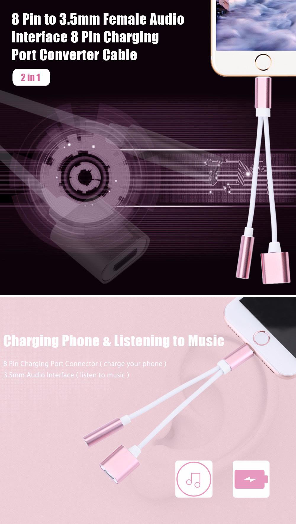 2 in 1 8 Pin to 3.5mm Audio Interface Charging Converter Cable for iPhone 13cm