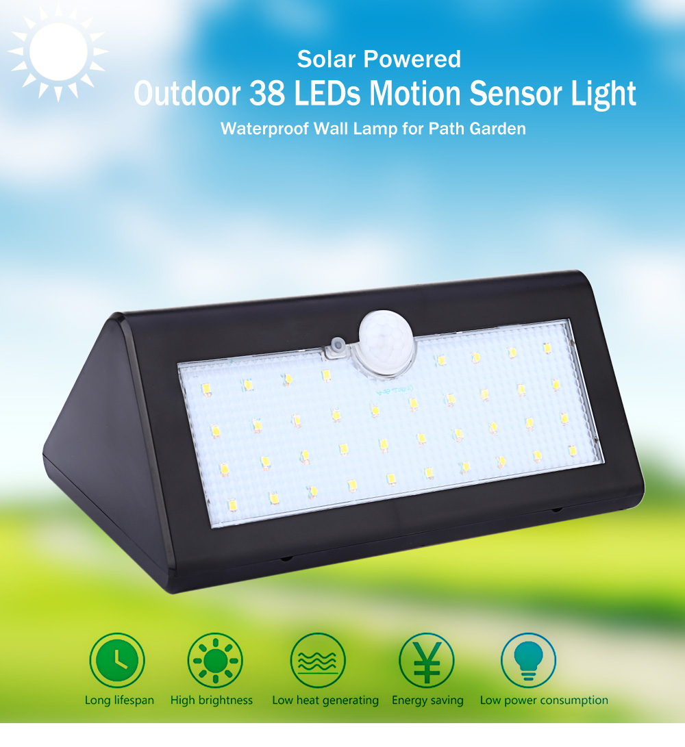 Outdoor 38 LEDs Solar Powered Motion Sensor Light Waterproof Wall Lamp for Path Garden