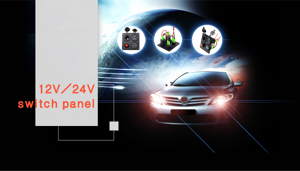 Vehicle Car Switch Panel Cigarette Lighter Dual USB Output with Voltmeter