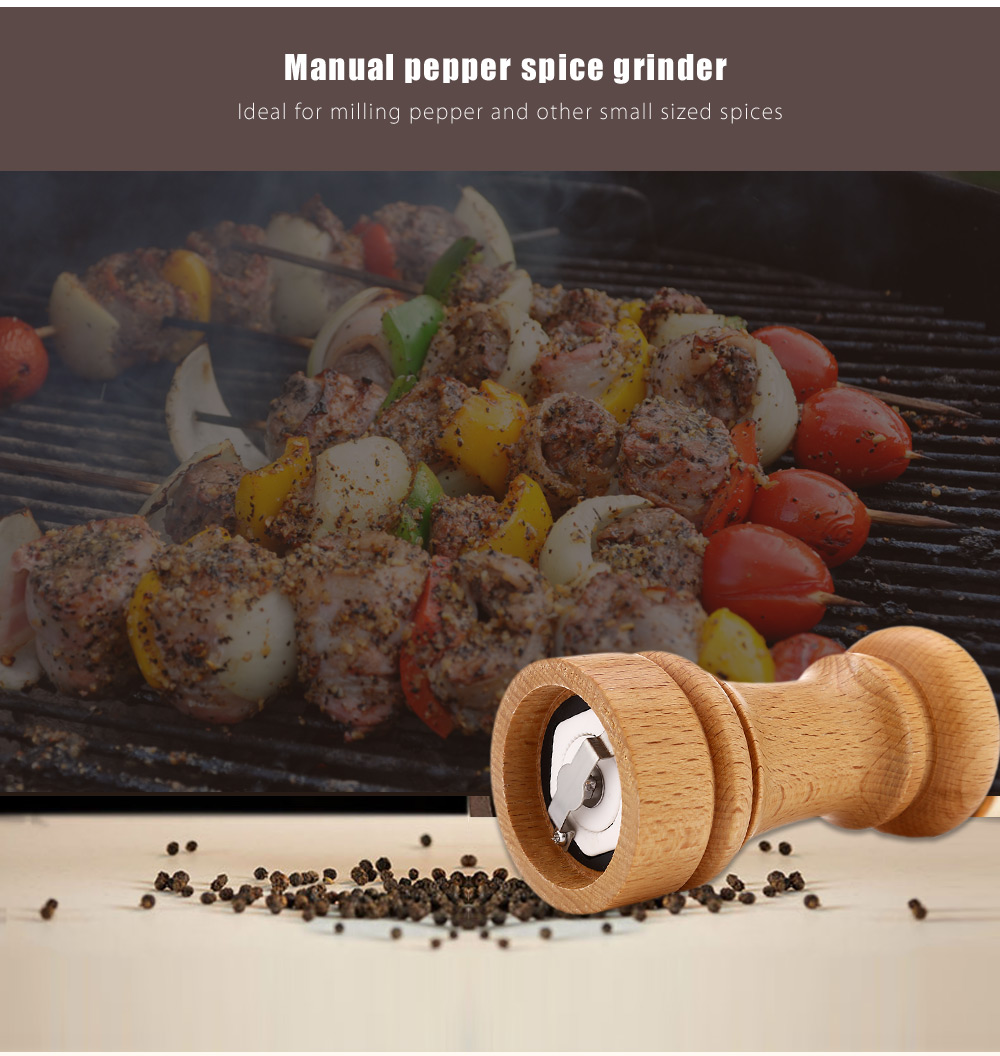 Pepper Spice Wood Manual Grinder Seasoning Kitchen Accessory