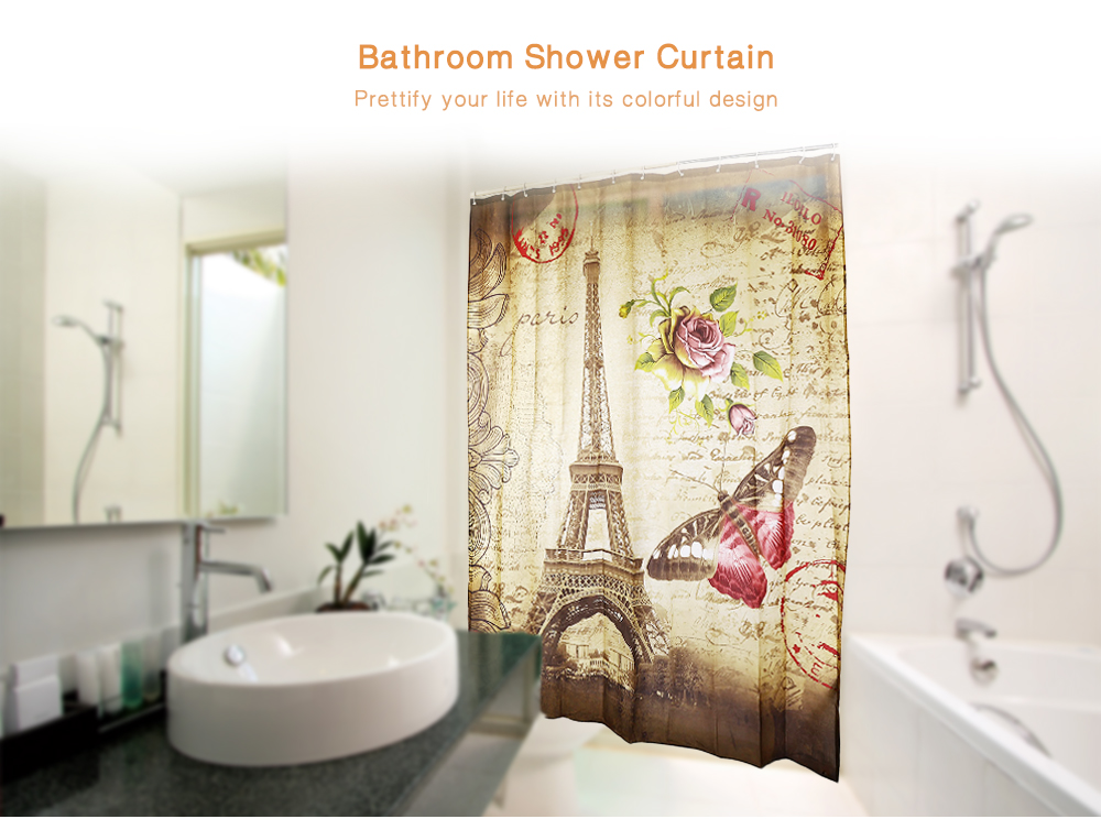 180 x 200cm Retro Butterfly Eiffel Tower Pattern Water Resistant Bathroom Shower Curtain