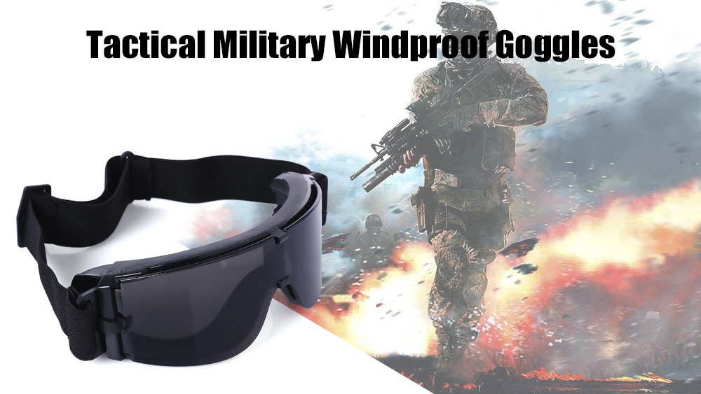 X800 Military Tactical Goggles Protective Glasses with Pouch for CS Game Hunting Shooting
