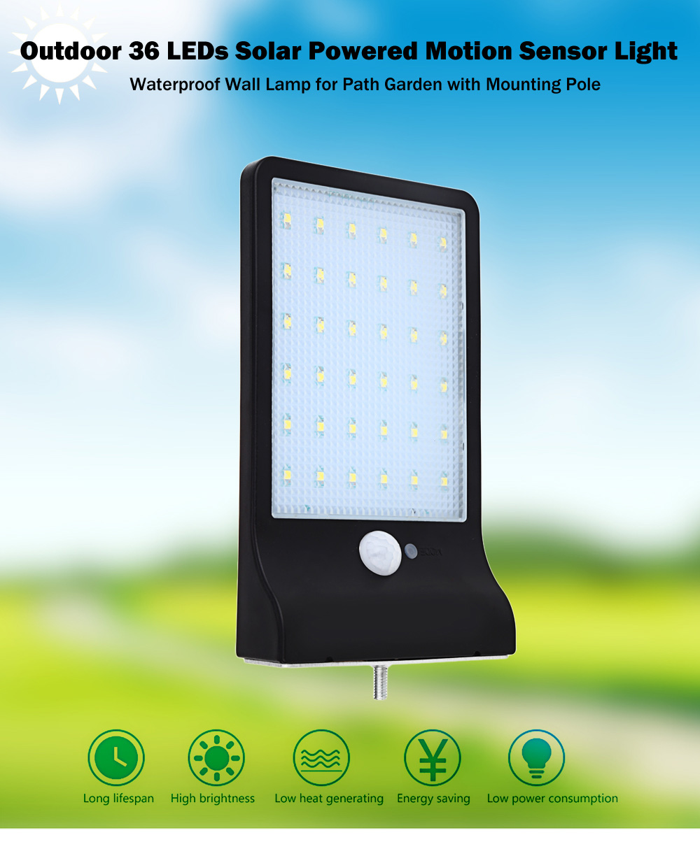 Outdoor 36 LEDs Solar Powered Motion Sensor Light Waterproof Wall Lamp for Path Garden with Mounting Pole