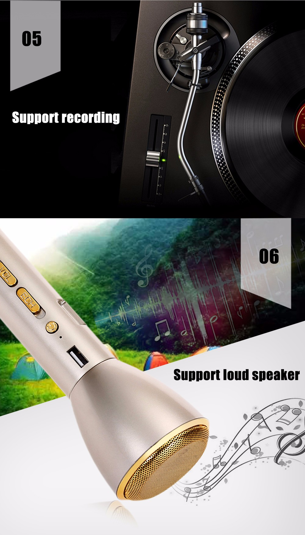 TRANGU K088 Multifunction Portable Bluetooth Wireless Speaker Mono Handheld Microphone
