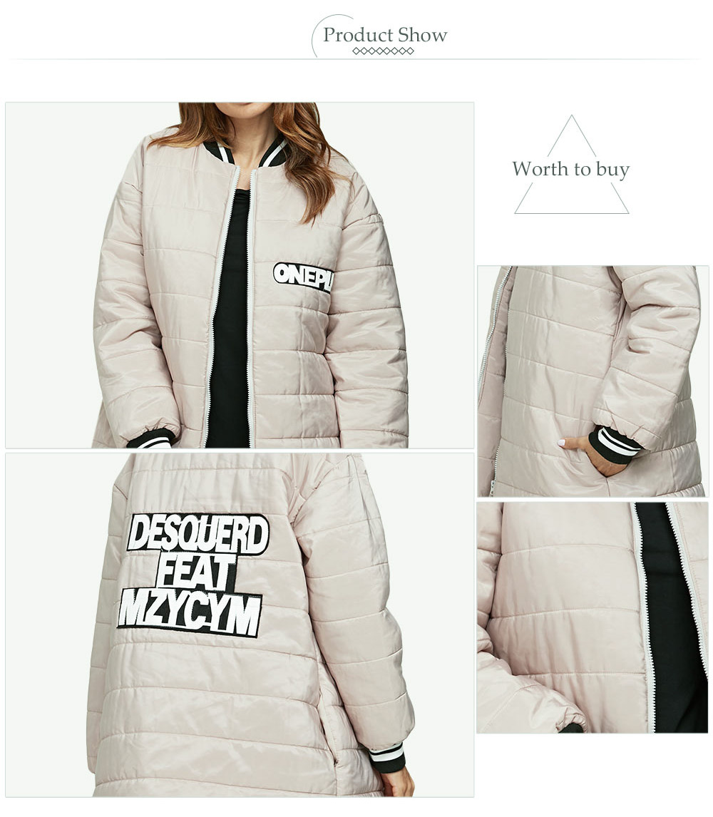 Casual Stand Collar Padded Women Baseball Down Coat